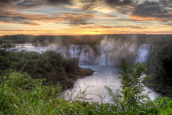 Iguazu Falls at Sunset