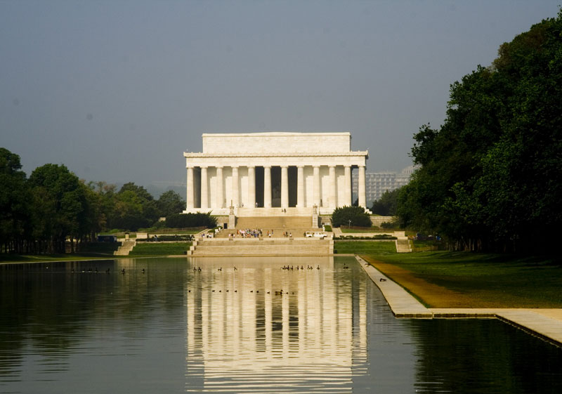 The Lincoln Memorial, designed by architect Henry Bacon, is located on the